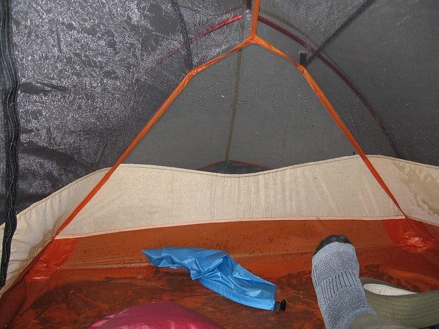 wet bottom of tent after rain