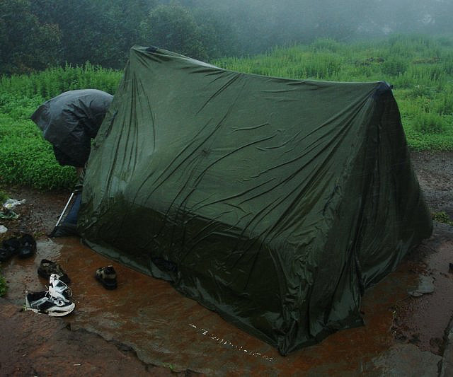 bad camping setup for rain