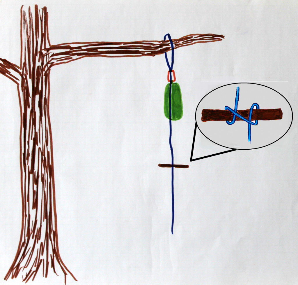 While holding the food bag in the air, use a clove hitch to tie a stick onto the dangling rope. Tie it as high up as you can.