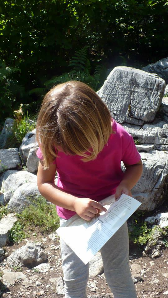 daughter reading map on hike