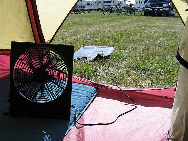 solar powered camping fan