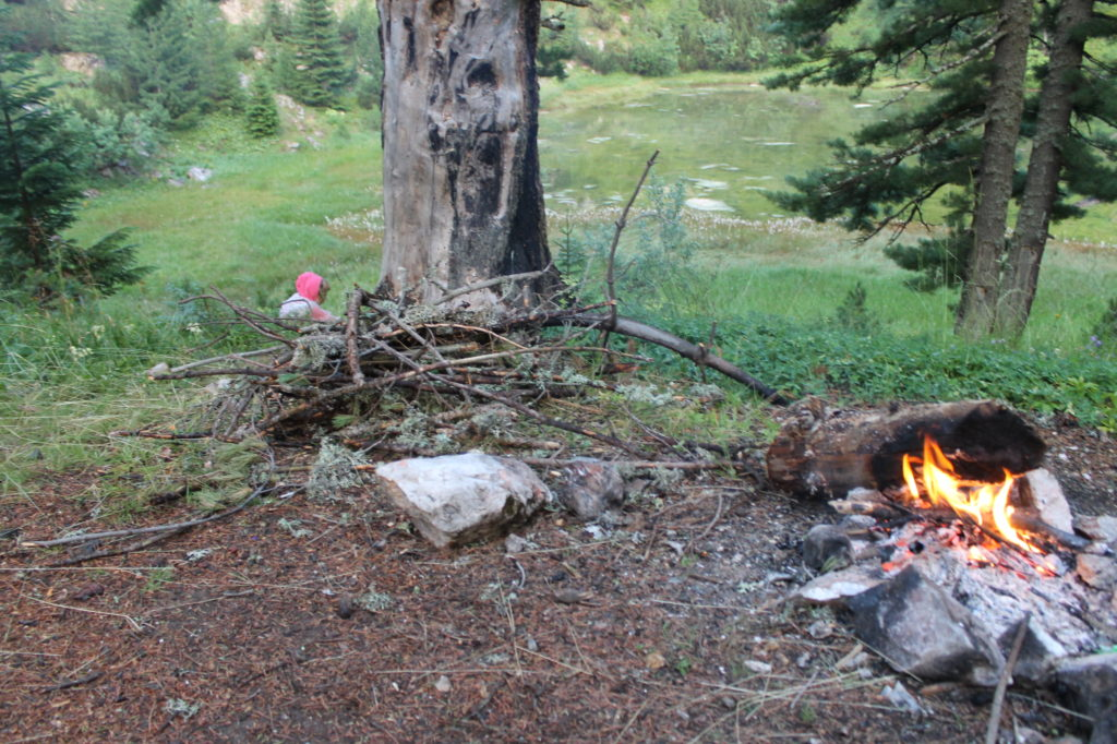 It was raining lightly this day, so I just propped a big log over the burning kindling.
