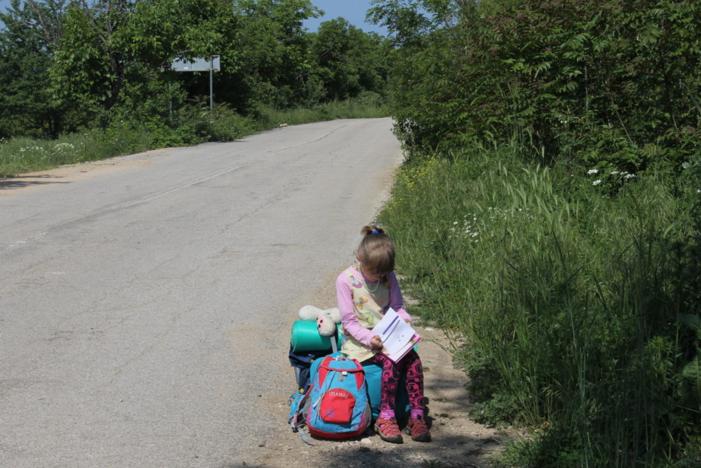 Drawing pictures while waiting for a car to go by on a very remote backroad in Bulgaria
