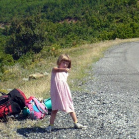 Hitchhiking a ride after a week of camping and backpacking