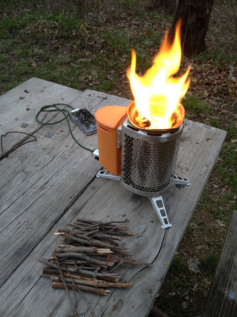 The Biolite camping stove can charge your phone.