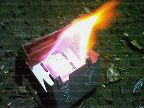Solid fuel tablet lit. No use trying to control that flame!