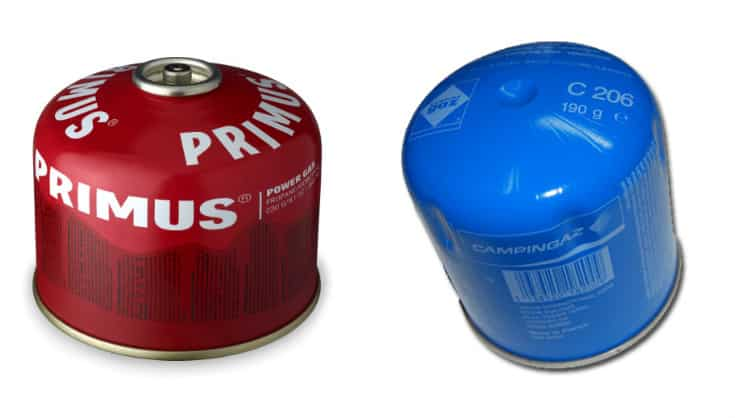 On the left is a Primus screw-on gas canister. On the right is a cheap puncture-style gas canister.