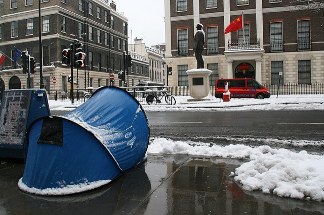 Kudos to this protester - especially because he stuck it out in a Pop Up tent!
