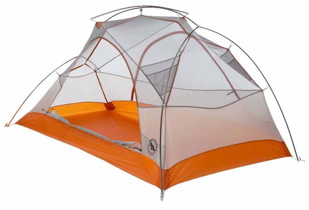 The Big Agnes Copper Spur UL2 2-person tent (shown without rain fly) only weighs 3lbs 2oz, making it one of the best lightweight backpacking tents. It costs $344 and you can buy it here.