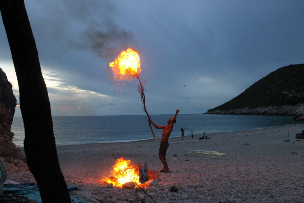 Beach fire and a crazy Albanian guy