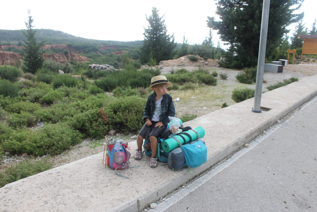 Isabel and I waiting to hitchhike a ride after leaving Gjipe beach. We got a ride in just 10 minutes. :)