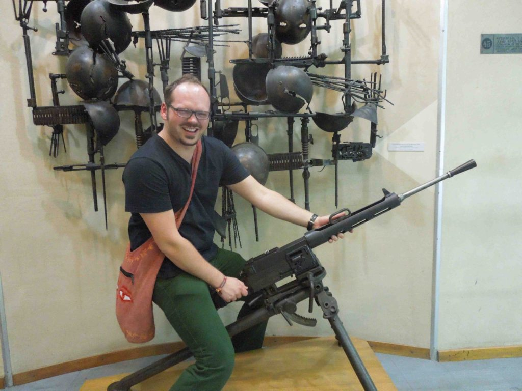 Having a blast with my friend in the local Military museum in Belgrade. No one said anything about not touching the exhibits. :)