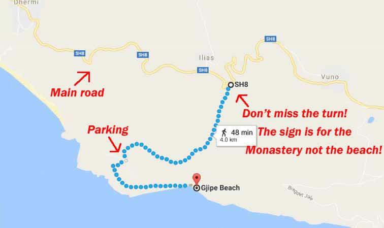 Gjipe beach map