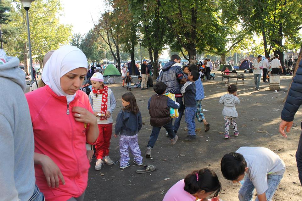 Refugees in Bristol Park, Belgrade