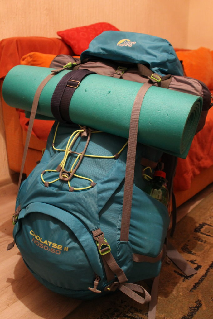 My backpack all packed and ready for a 7-day trip