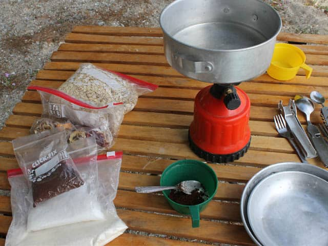 The little baggies include instant coffee, sugar, and powdered milk. Plus a bag of oats = perfect camping breakfast!