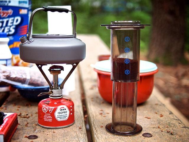 AeroPress espresso maker for camping