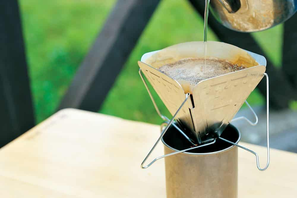 A collapsible coffee drip by Snow Peak - Buy Here