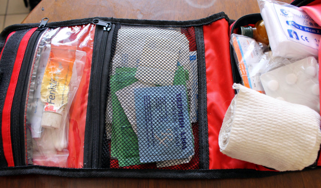 How the first aid kit looks when packed