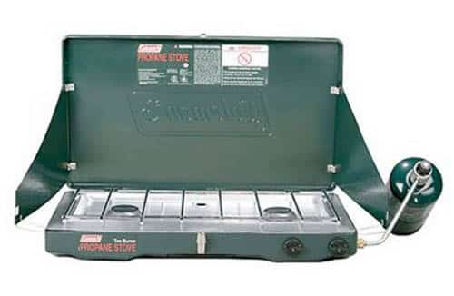 This Coleman stove runs on propane. It costs about $42 and you can buy it here.