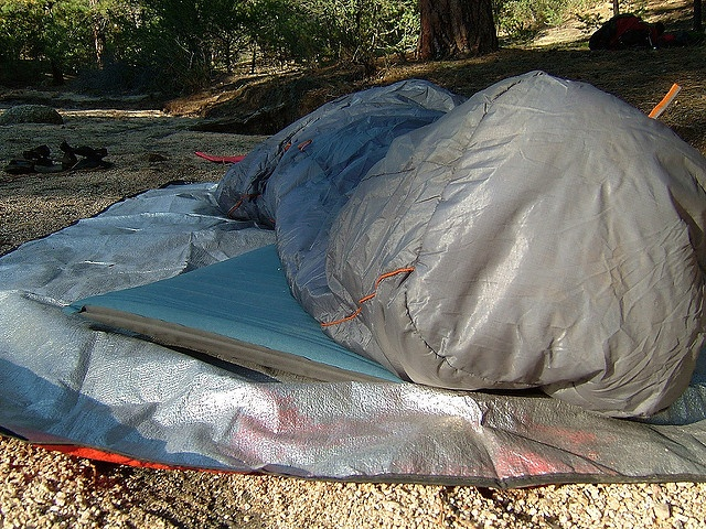 This heavy duty space blanket reflects heat up towards the body.