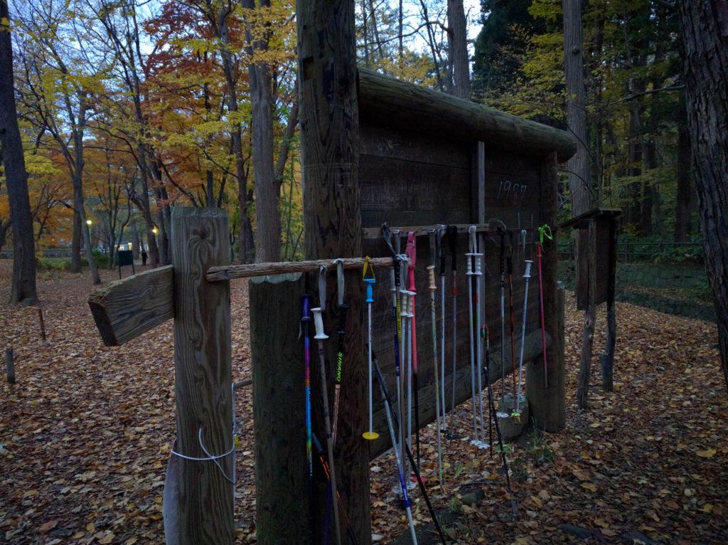 trekking poles left at trailhead