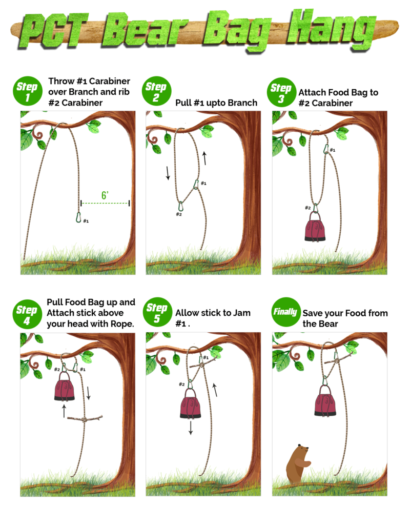 PCT bear hang method with steps