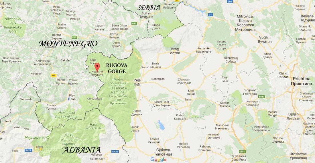 Rugova gorge map
