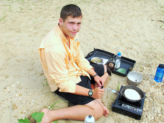 cooking pancakes while camping