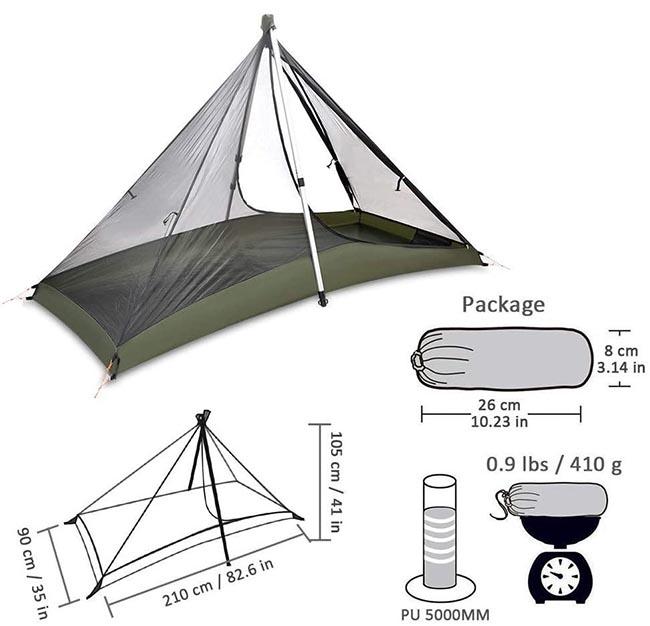 geertop pyramid 1P trekking pole tent inner