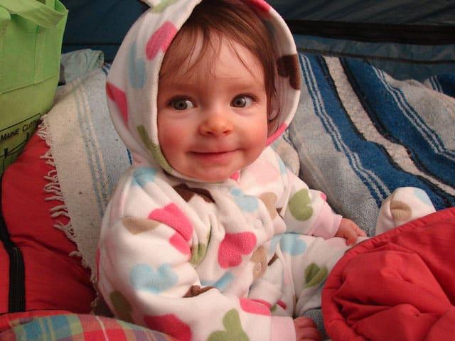 camping baby in fleece sleep suit