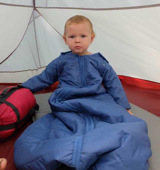 baby in sleeping bag camping