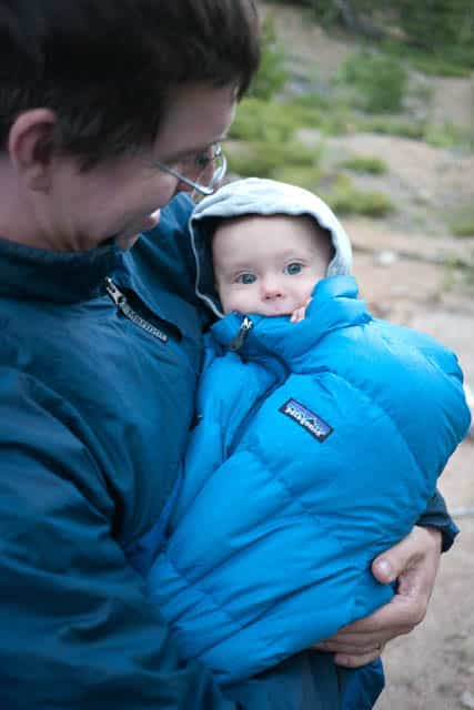 down jacket as sleeping bag for baby