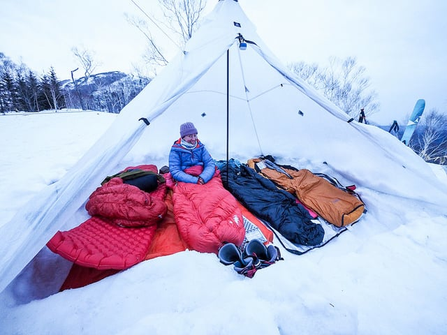 camping in extreme cold