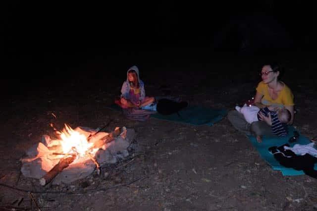 baby around campfire