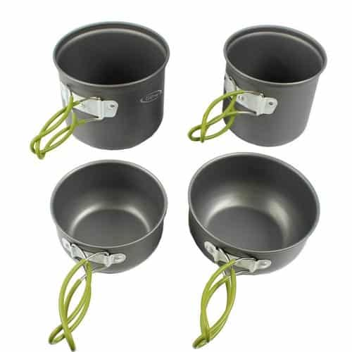 G4 camping pot set with retractable handles