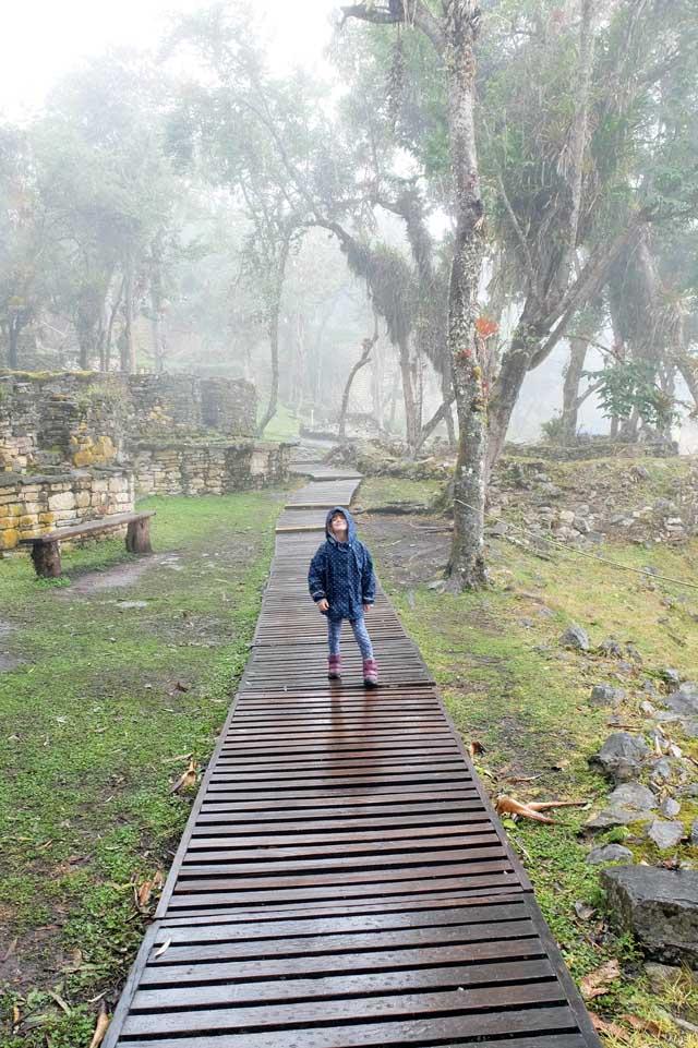 Inside Kuelap in the rain