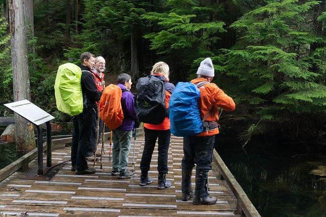 springtime hikers in gaiters