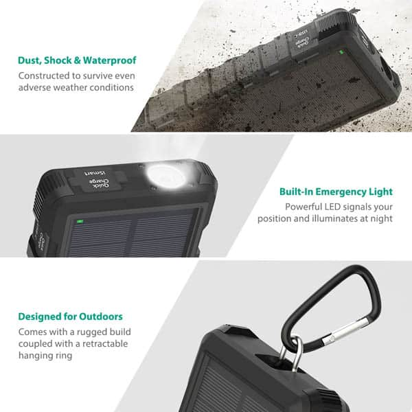 RAVpower solar charger features