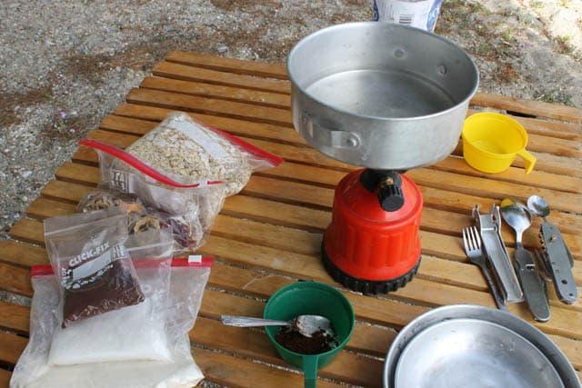 camping cooking setup