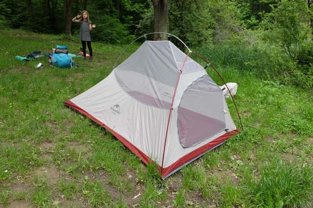 pitching the CloudUp 2 tent