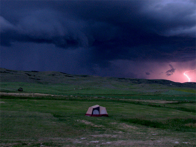 unsafe spot for camping in thunderstorm