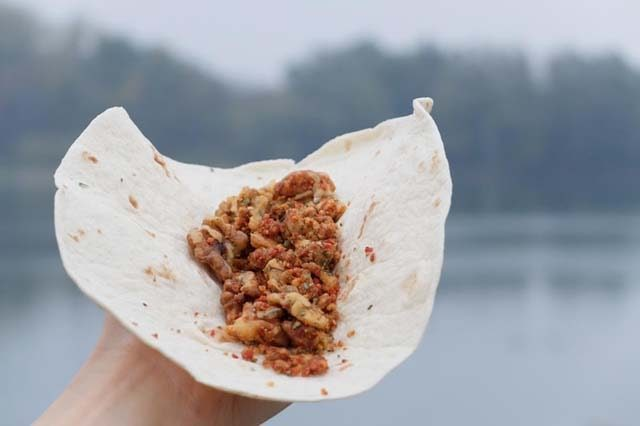vegan backpacking lunch walnut taco meat