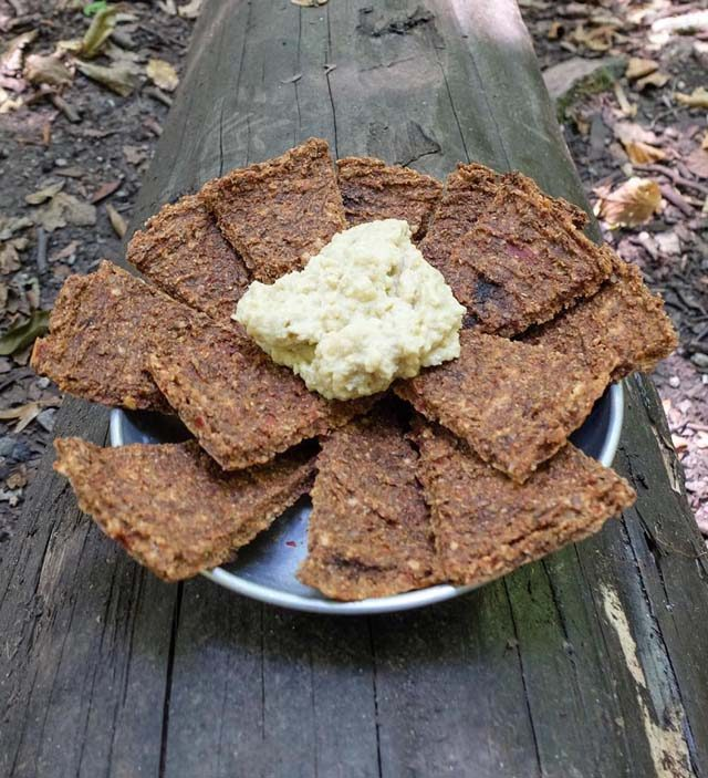 crackers and hummus vegan backpacking lunch idea