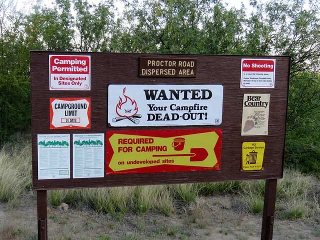 dispersed camping sign