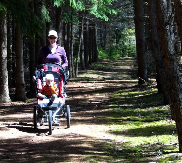 all terrain stroller on hiking path