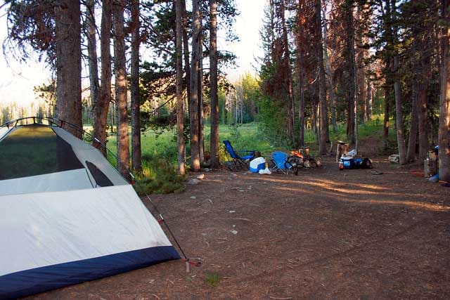 Dispersed camping in Meadow Creek Reservoir, Colorado