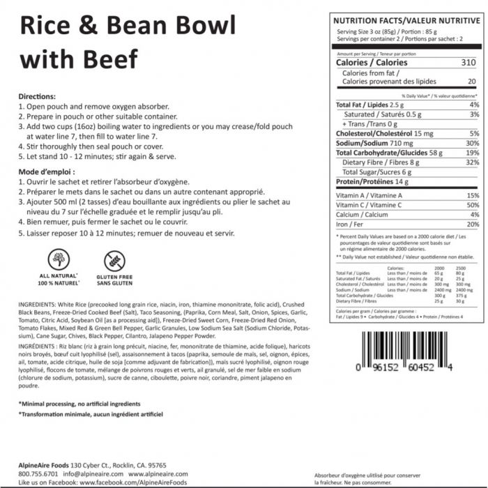 alpineaire rice beans beef bowl nutrition