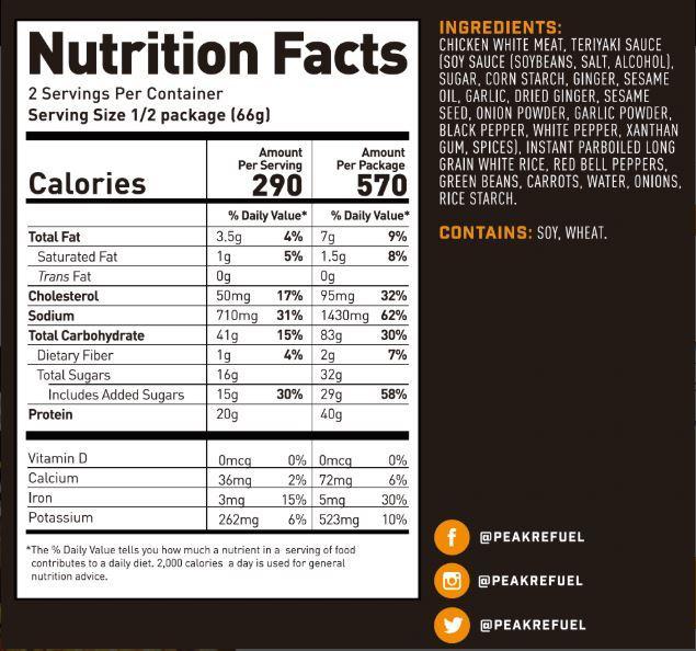 peak fuel chicken teriyaki nutrition