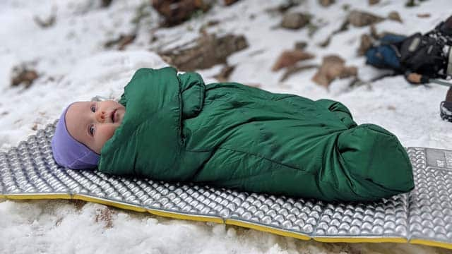 infant in Morrison sleeping bag
